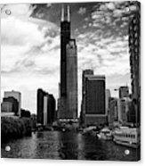 Chicago River And Willis Tower View From River City South Bank Chicago Illinois United States Of Ame Acrylic Print