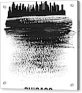 Chicago Skyline Brush Stroke Black Acrylic Print