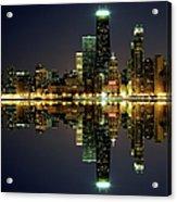 Chicago Skyline Reflected On Lake Acrylic Print