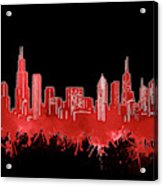 Chicago Skyline Watercolor 5 Acrylic Print
