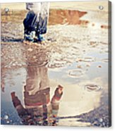 Child In A Puddle Acrylic Print
