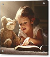 Child Little Girl Reading A Magic Book Acrylic Print