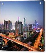 China, Shenzen Skyline At Dusk Acrylic Print