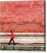 Chinese Young Lady Walking By Monument Acrylic Print