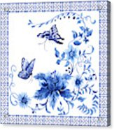 Chinoiserie Blue And White Pagoda With Stylized Flowers Butterflies And Chinese Chippendale Border Acrylic Print