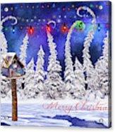 Christmas Card With Bird House Acrylic Print