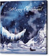 Christmas Card With Frozen Moon Acrylic Print