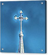 Church Steeple In Macon Ga Next To The Hospital  Acrylic Print