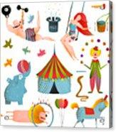 Circus Carnival Show Clip Art Vintage Acrylic Print