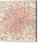 City Map Of London, Lithograph Acrylic Print