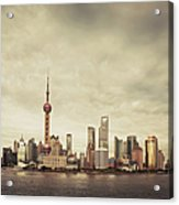 City Skyline At Sunset, Shanghai, China Acrylic Print