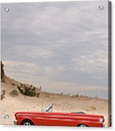 Classic Red Convertible In The Desert - Acrylic Print