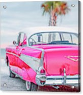 Classic Vintage Pink Chevy Bel Air  8x10 Scene Acrylic Print