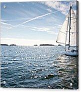 Classic Yacht Sailing Away Against Blue Acrylic Print