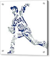Clayton Kershaw Los Angeles Dodgers Pixel Art 30 Acrylic Print