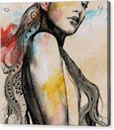 Cleansing Undertones - Zentangle Nude Girl Drawing Acrylic Print