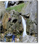 Climbers Making Their Way Up The Cliffs Of Gordale Scar Acrylic Print