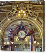 Clock At Le Train Bleu Acrylic Print