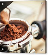 Close Up Of Espresso Grounds In Machine Acrylic Print