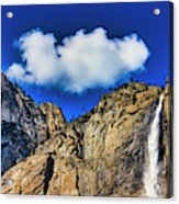 Clouds Abover Upper Yosemite Fall Acrylic Print