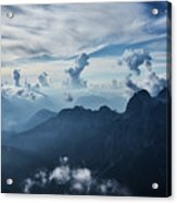 Moody Cloudy Mountains With A Lot Of Contrast And Shadows And Clouds Acrylic Print