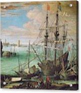 Coastal Landscape With Harbor  Acrylic Print