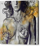 Colony Collapse Disorder - Gold - Nude Warrior Woman With Autumn Leaves Acrylic Print