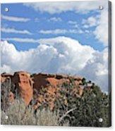 Colorado National Monument Colorado Blue Sky Red Rocks Clouds Trees Acrylic Print