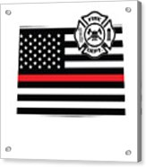 Colorado Firefighter Shield Thin Red Line Flag Acrylic Print
