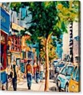 Colorful Cafe Painting Irish Pubs Bistros Bars Diners Delis Downtown C Spandau Montreal Eats         Acrylic Print