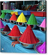 Colorful Dyes At Indian Market Acrylic Print