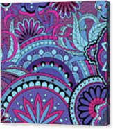 Colorful Floral Background In Boho Style Acrylic Print