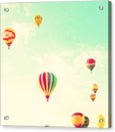 Colorful Hot Air Balloons In A Green Acrylic Print
