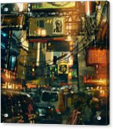 Colorful Painting Of Shopping Street In Acrylic Print
