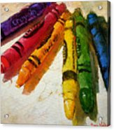 Colorwheel Crayons Acrylic Print