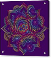 Colourful Rainbow Mandala Lavender Acrylic Print