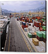 Container Shipping, Port Of Genoa, Italy Acrylic Print