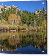 Cool Calm Rocky Mountains Autumn Reflections Acrylic Print