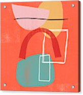 Coral Modern Abstract 2- Art By Linda Woods Acrylic Print