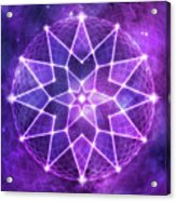 Cosmic Purple Geometric Seed Of Life Crystal Lotus Star Mandala Acrylic Print