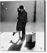 Couple Kissing In Train Station Acrylic Print