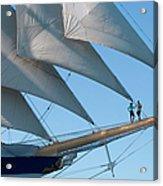 Couple On Bowsprit Of Sailing Ship Acrylic Print