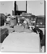 Couple Seated In Car At Drive-in Acrylic Print