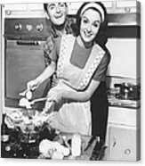 Couple Standing In Kitchen, Smiling, B&w Acrylic Print