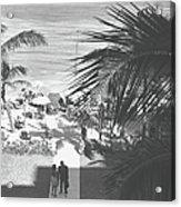 Couple Walking In Path Towards Beach Acrylic Print
