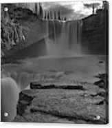 Crescent Falls Light Rays Through The Mist Black And White Acrylic Print