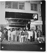 Crowd Standing In Front Of Studio 54 Acrylic Print
