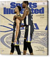 Curry  Durant Inside A Golden Basketball Sunset Sports Illustrated Cover Acrylic Print