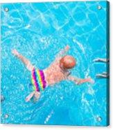Cute Little Baby Swimming Underwater Acrylic Print
