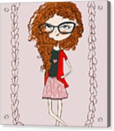 Cute Little Fashion Girl With Doodle Acrylic Print